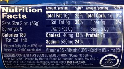 Spam 25% Less Sodium - Informations nutritionnelles