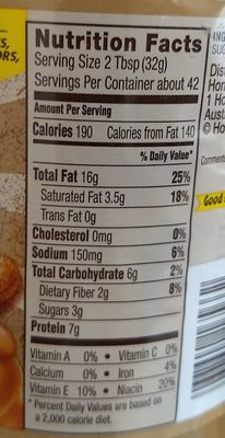 Natural Creamy Peanut Butter Spread - Informations nutritionnelles - en