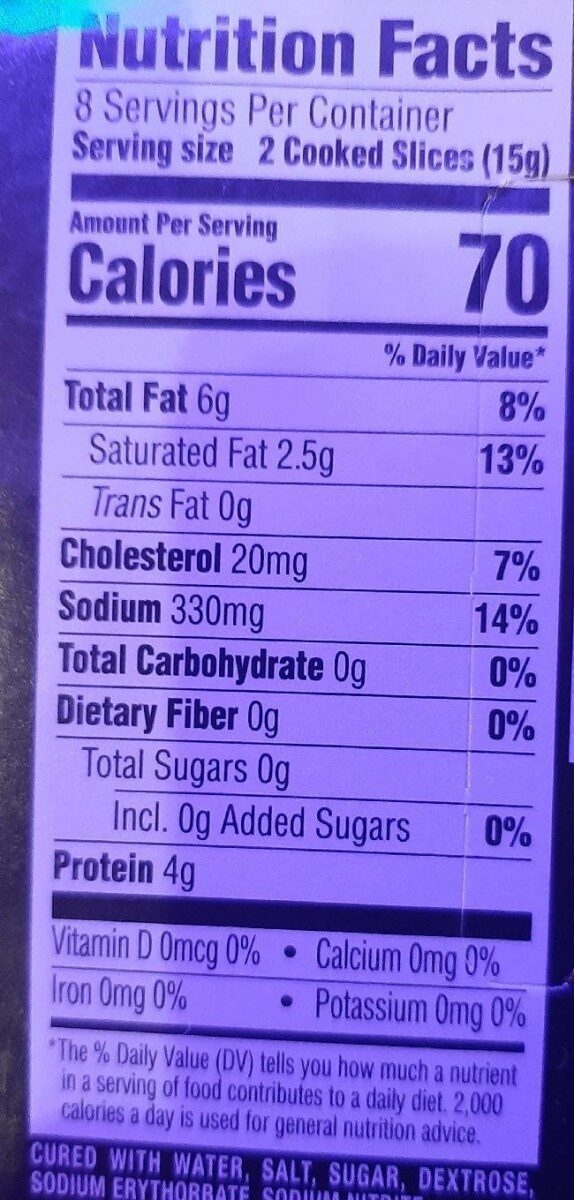 Bacon microwave ready - Nutrition facts