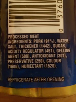 Spam Classic 340G - Ingredients