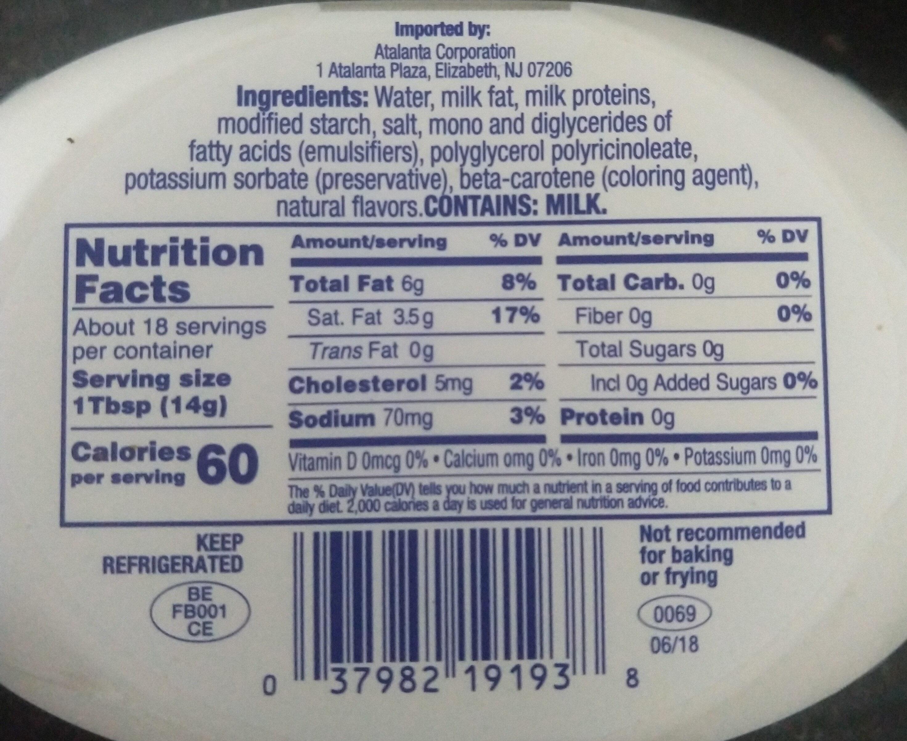 Light butter with sea salt - Nutrition facts - en