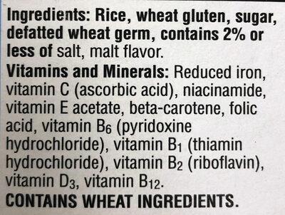 Toasted rice cereal, original - Ingredients - en
