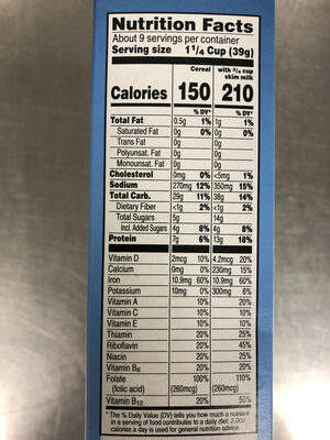 Toasted rice cereal, original - Nutrition facts - en