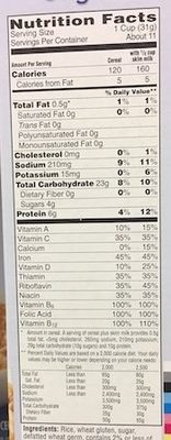 Toasted rice cereal - Informations nutritionnelles