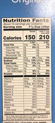 Breakfast cereal original - Nutrition facts - en