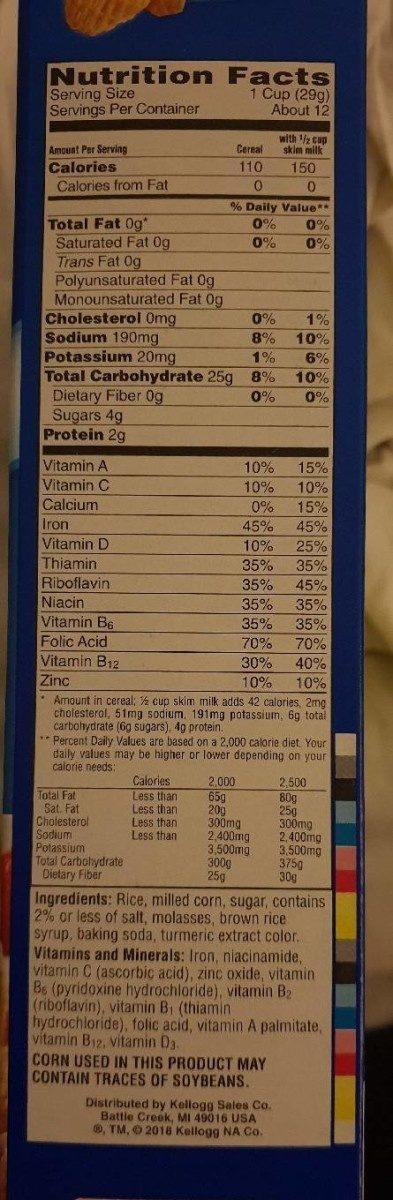 Crispix - Nutrition facts