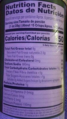 Potato crisps chips - Nutrition facts - en
