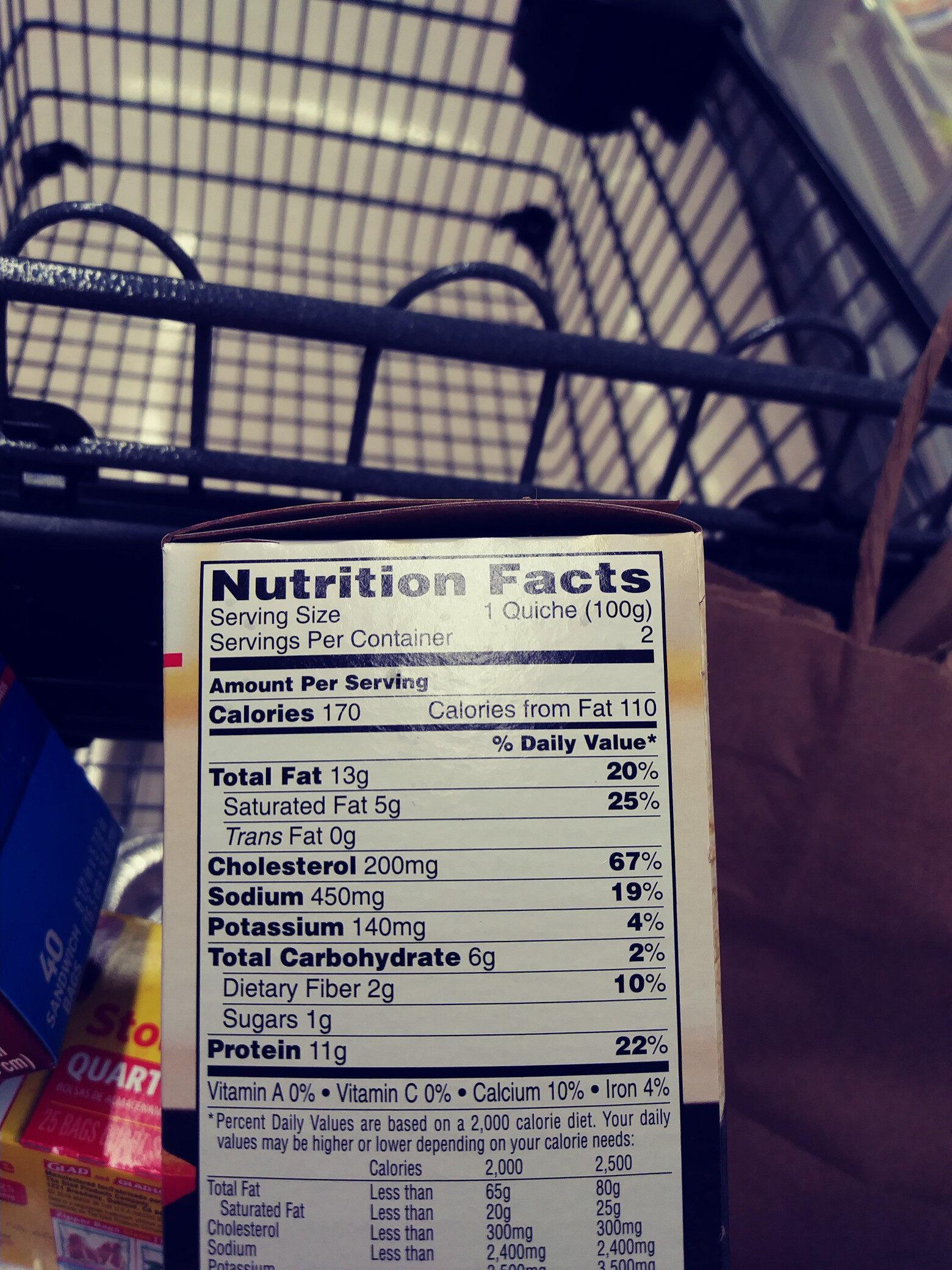 Sausage, quinoa, peppers, mozzarella & asiago crustless quiche, sausage, quinoa, peppers, mozzarella & asiago - Informations nutritionnelles - en