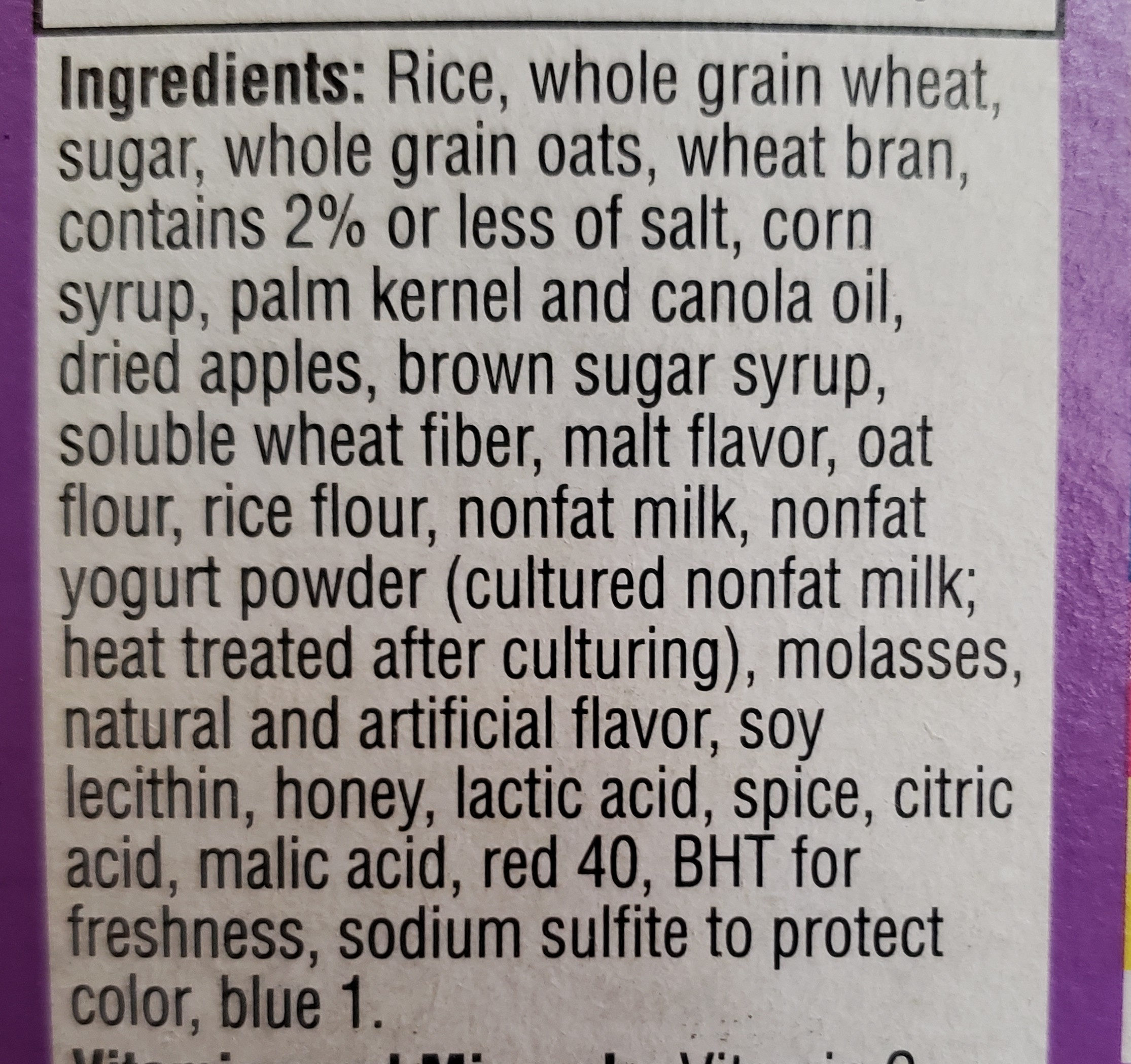 Special K fruit & yogurt - Ingredients