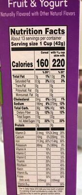 Cereal, fruit & yogurt - Nutrition facts - en