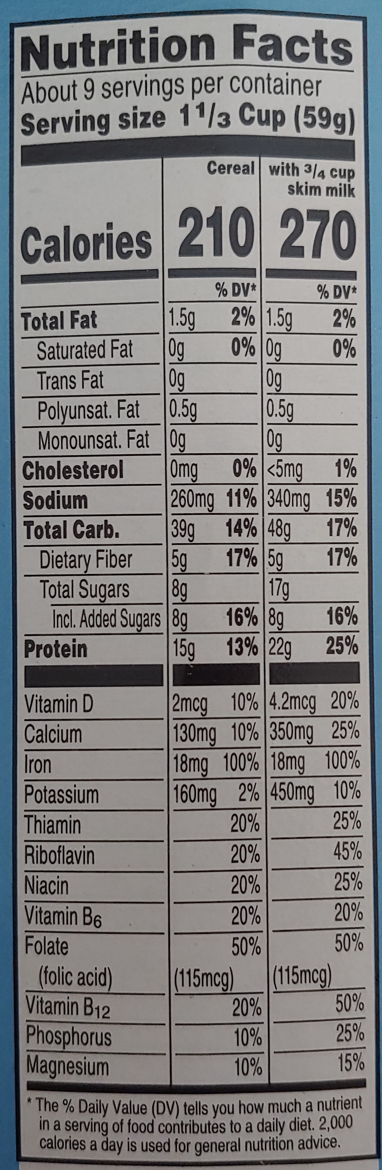 Protein Cereal, Original Multi-Grain, Touch of Cinnamon - Nutrition facts - en
