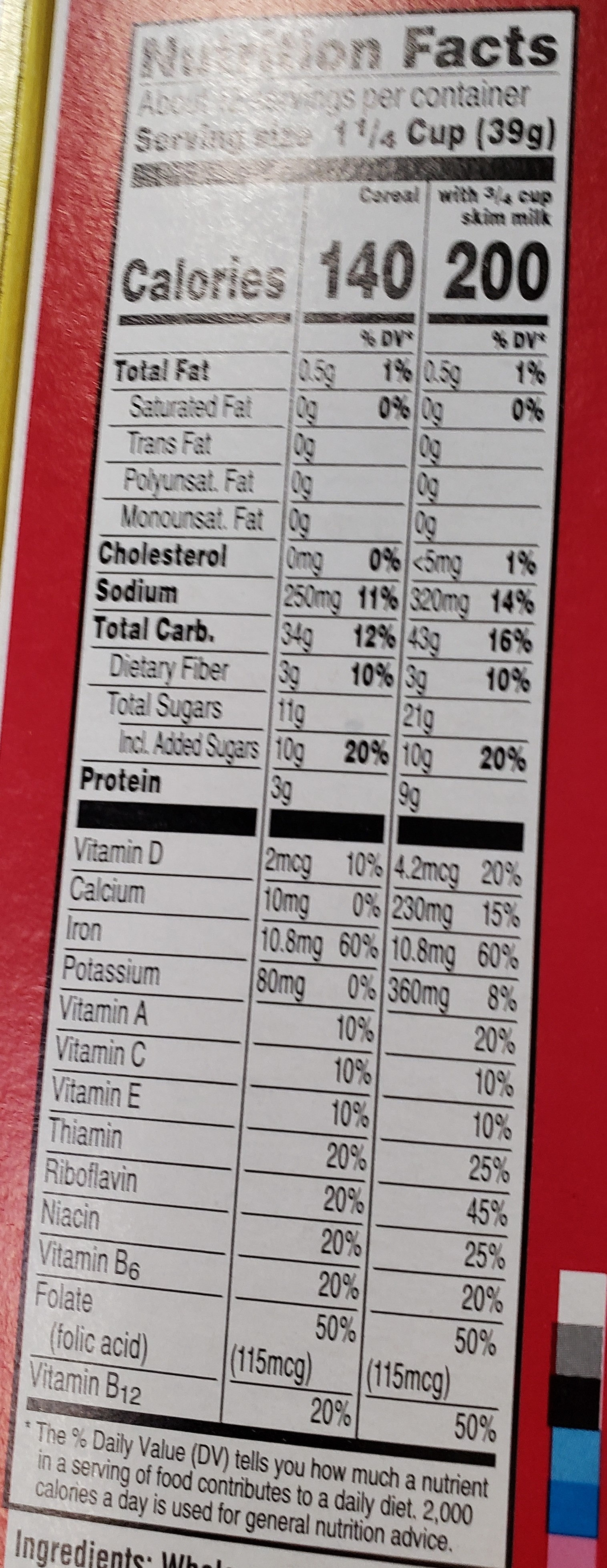 Cereal, red berries - Nutrition facts - en