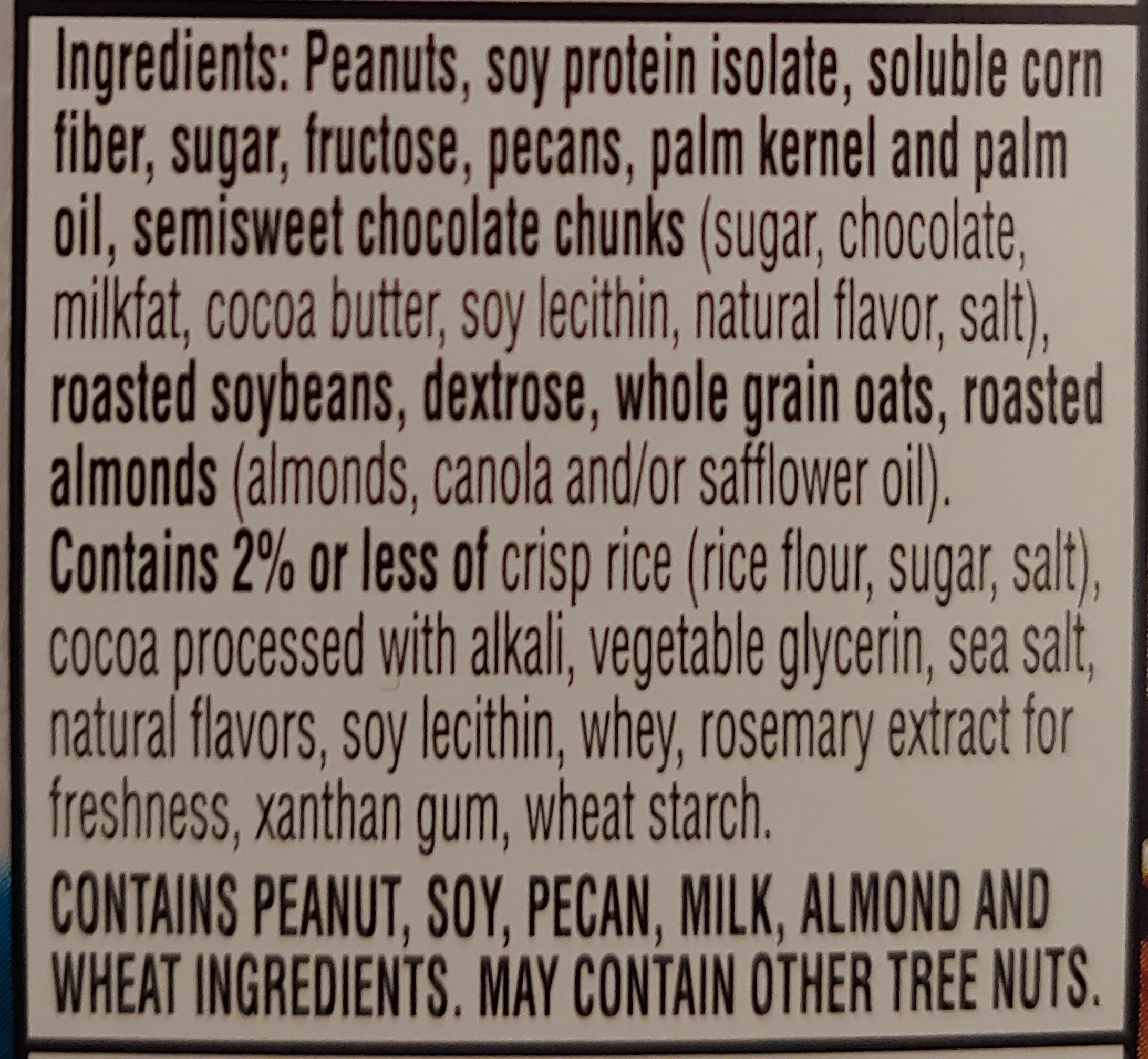 Chocolate peanut pecan protein snack bar, chocolate peanut pecan - Ingredients - en