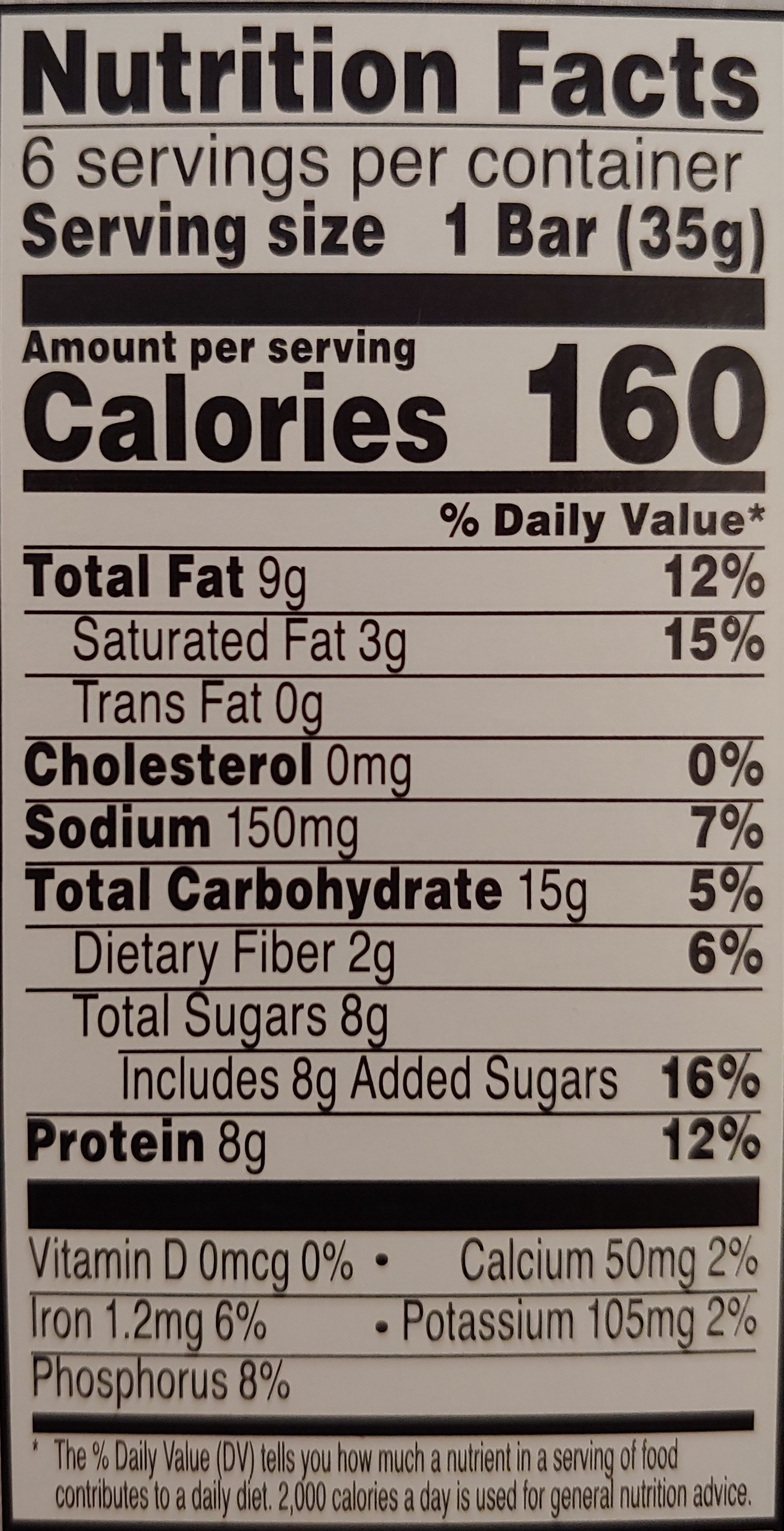 Chocolate peanut pecan protein snack bar, chocolate peanut pecan - Nutrition facts - en