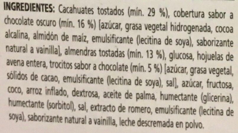 Nut Bar sabor chocolate oscuro y almendras - Ingredientes - es