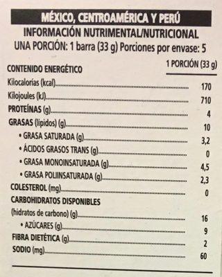 Nut Bar sabor chocolate oscuro y almendras - Información nutricional - es
