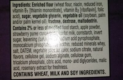 Kelloggs special k pastry crisps strawberry - Ingredients