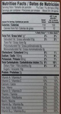 Natural chocolate flavored cereal - Información nutricional