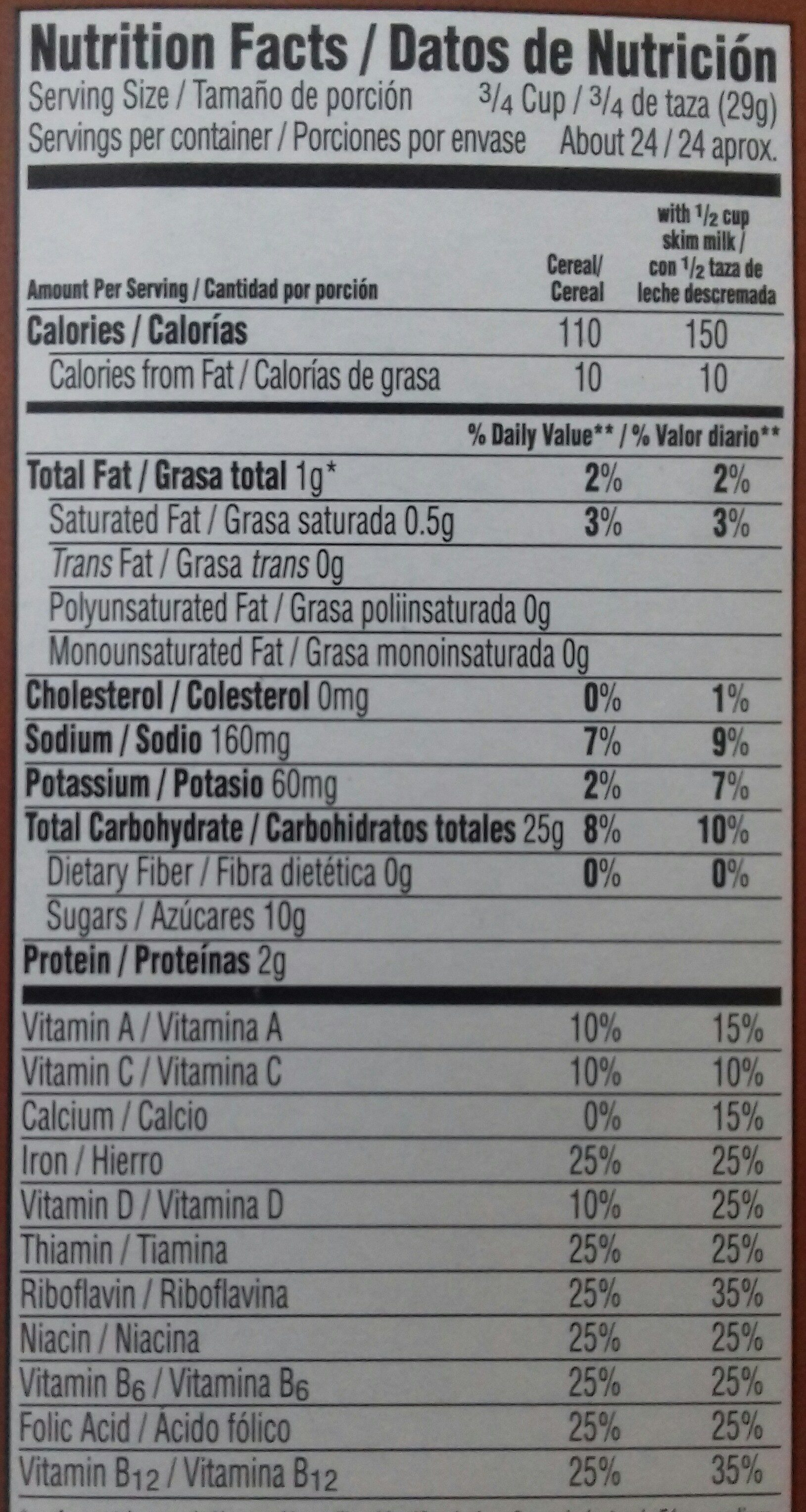Natural chocolate flavored cereal - Nutrition facts - en