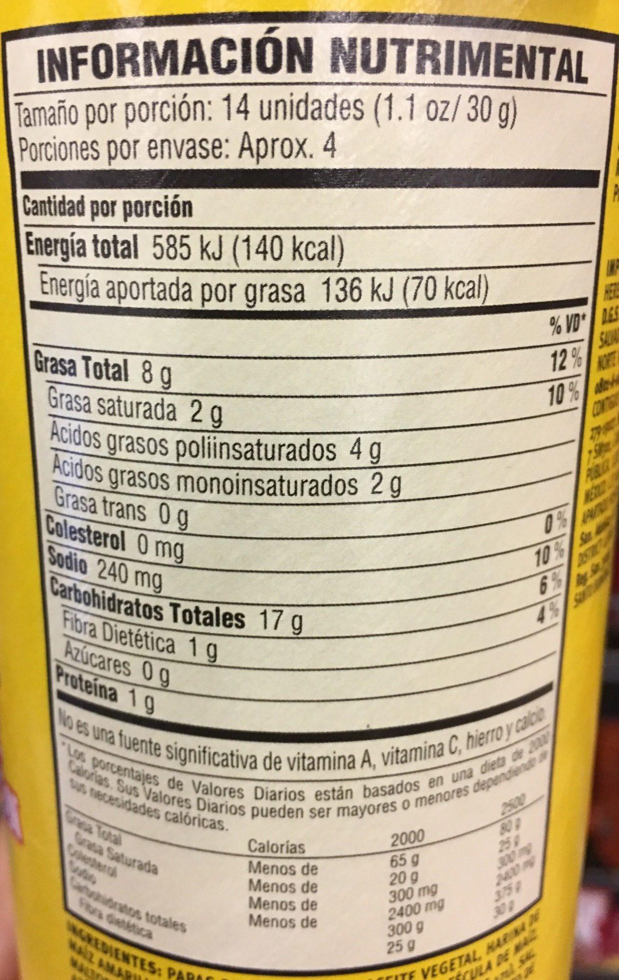 Pringles Chile y Limón - Información nutricional - es