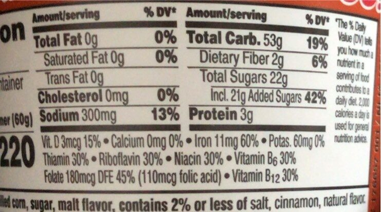 Cinnamon cereal - Nutrition facts - en