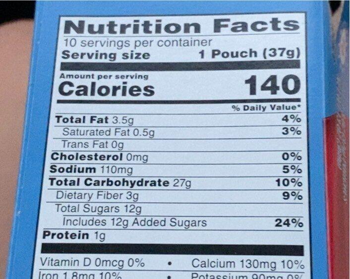 Nutri Grain Kids - Nutrition facts - en