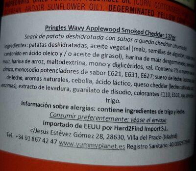 Pringles cheddar ahumado - Nutrition facts