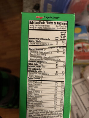 Sweetened cereal with apple & cinnamon, apple & cinnamon - Nutrition facts - en