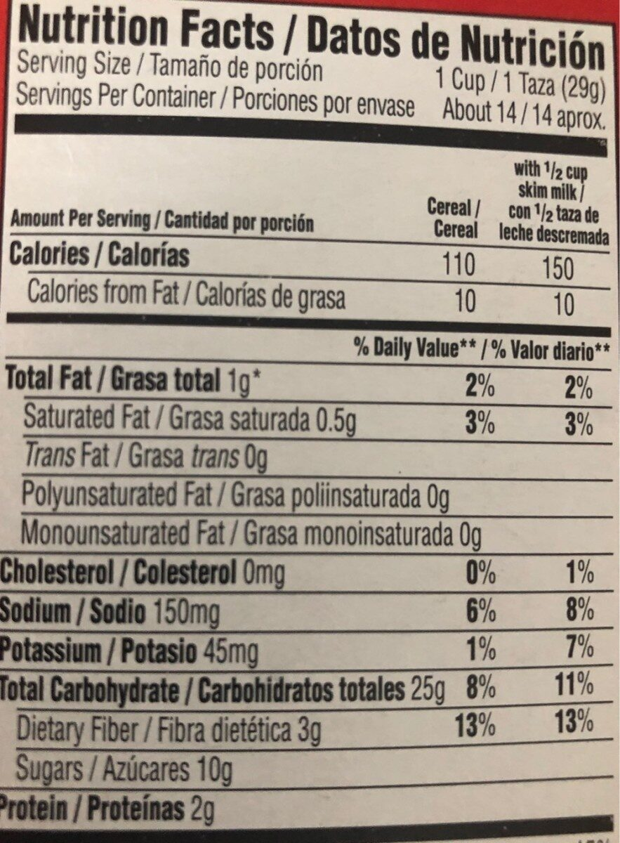 Sweetened multi-grain cereal, natural fruit - Nutrition facts - en