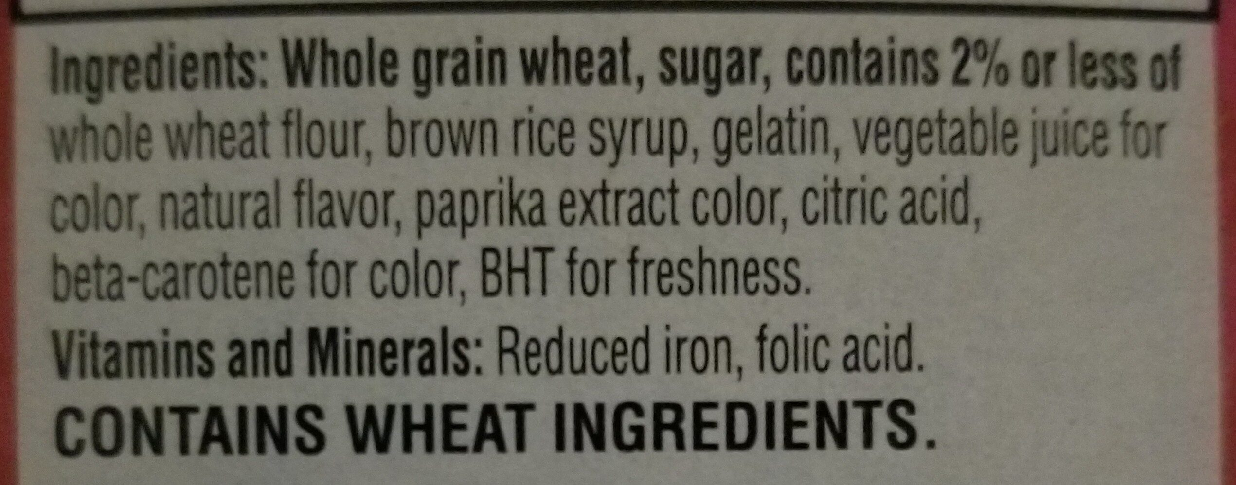 Frosted mini wheats strawberry whole grain cereal - Ingredients