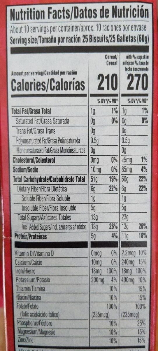 Frosted mini wheats strawberry whole grain cereal - Nutrition facts