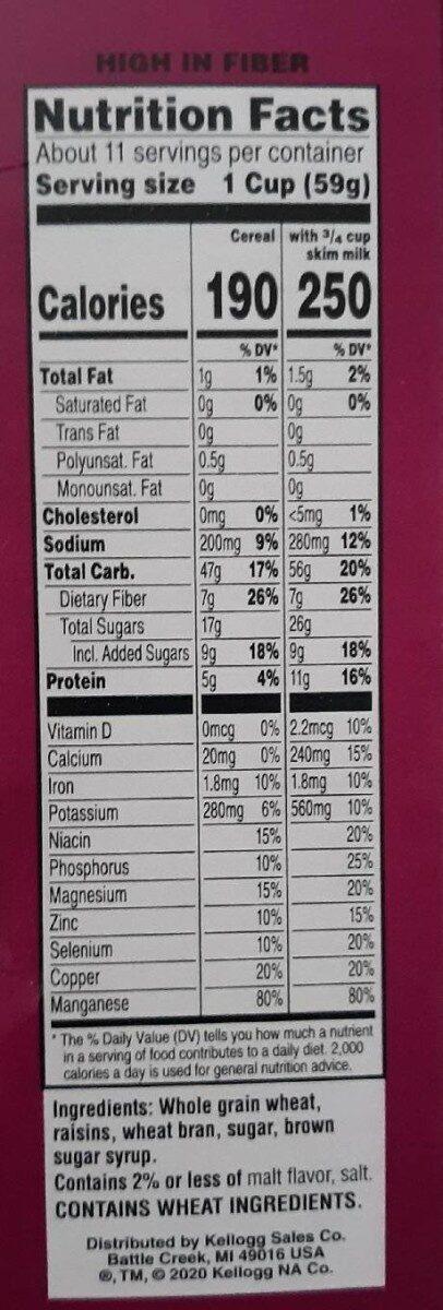 Raisin bran delicious raisins perfectly balanced with crisp - Nutrition facts - en