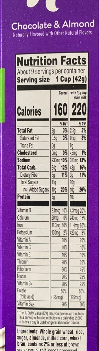 Special k chocolate & almond cereal - Nutrition facts - en