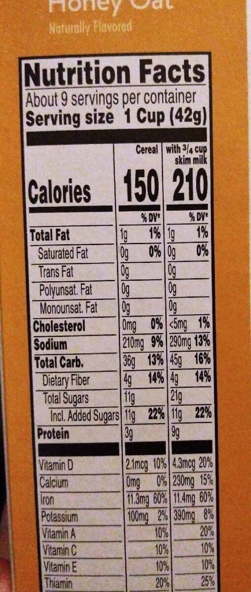 Special k cereal oats & honey - Beslenme gerçekleri - en