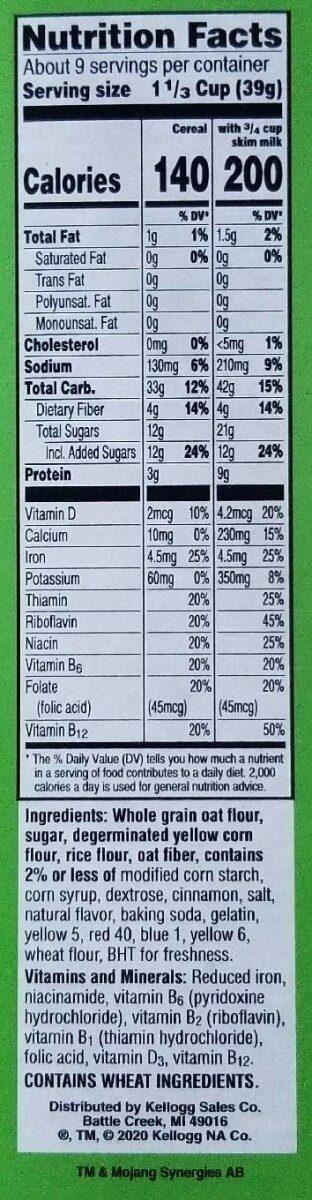 Minecraft Creeper Crunch - Nutrition facts - en