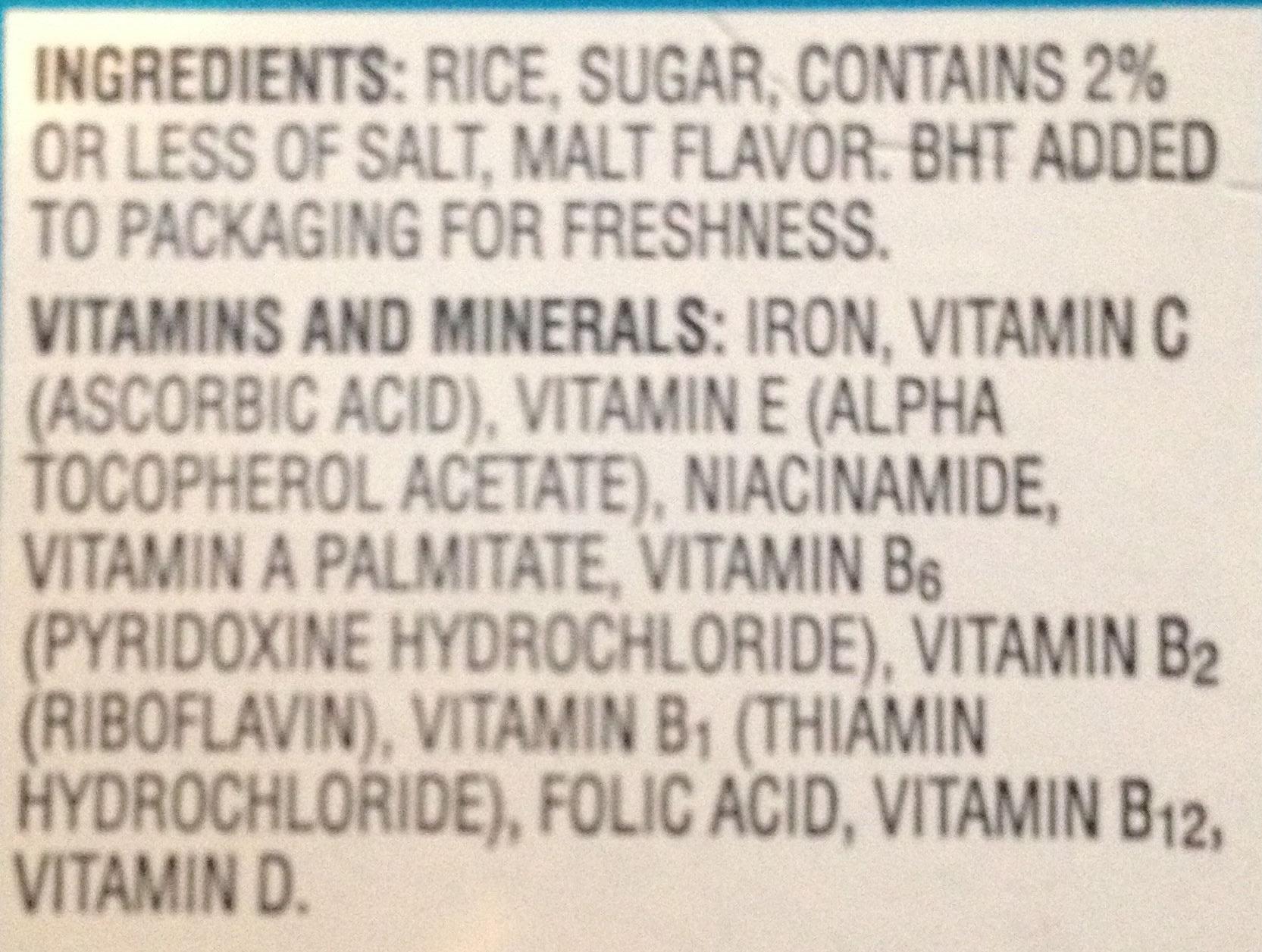 Rice krispies - Ingredients