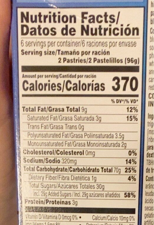Frosted blueberry pastries - Nutrition facts - en