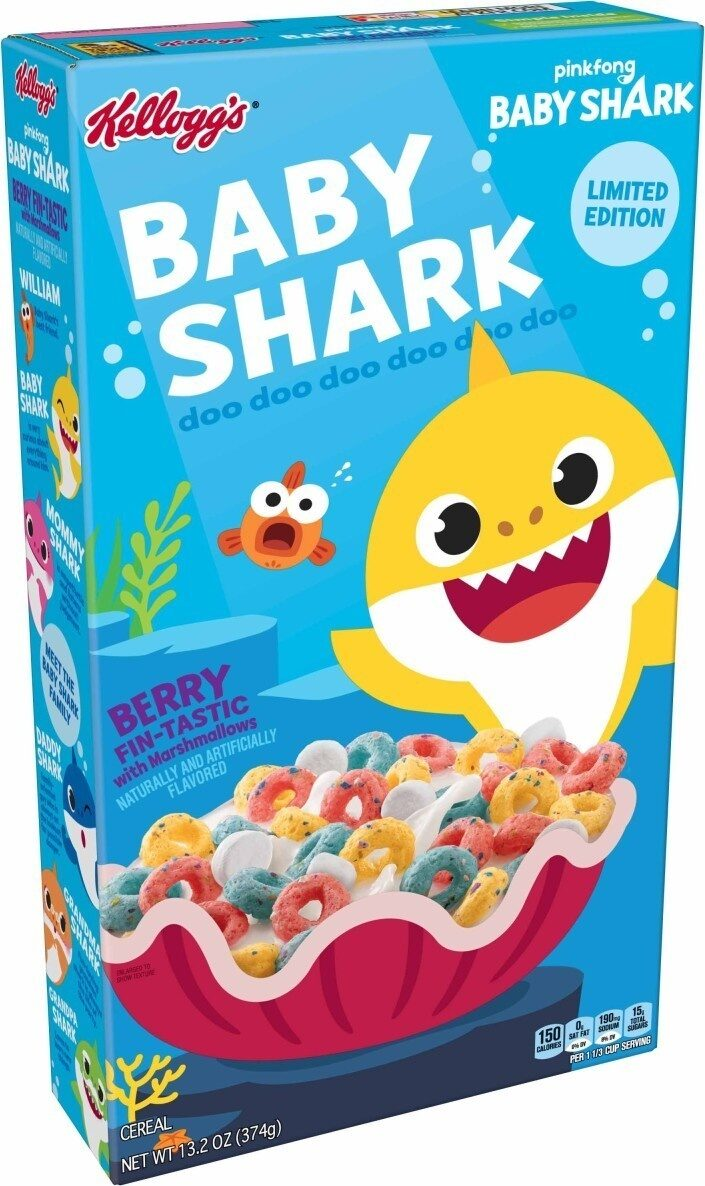 Baby shark berry fin tastic with marshmallows flavored cereal - Produit - en