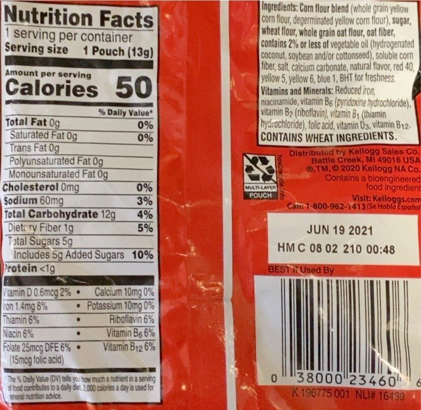 Froot Loops - Informazioni nutrizionali - en
