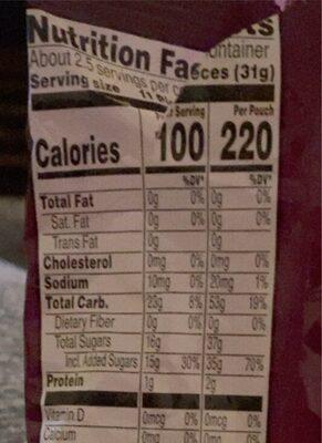 Kellogg's Fruity Snacks Cherry Fruit Flavored Snacks - Voedingswaarden - en