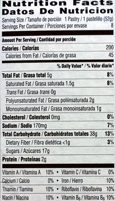 Pop Tarts Frosted Raspberry - Voedingswaarden - en