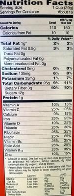 Sweetened multi-grain cereal - Nutrition facts - en