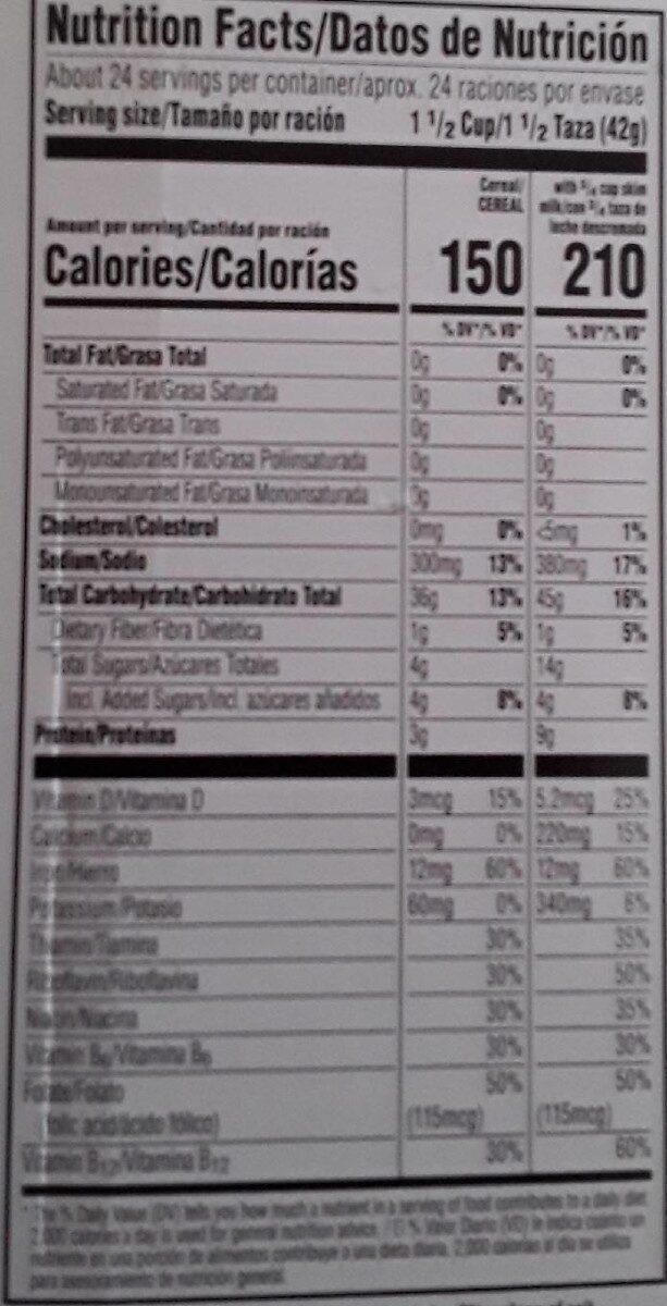 Kellogg s breakfast cereal - Valori nutrizionali - en
