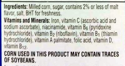 Corn flakes ingredients list
