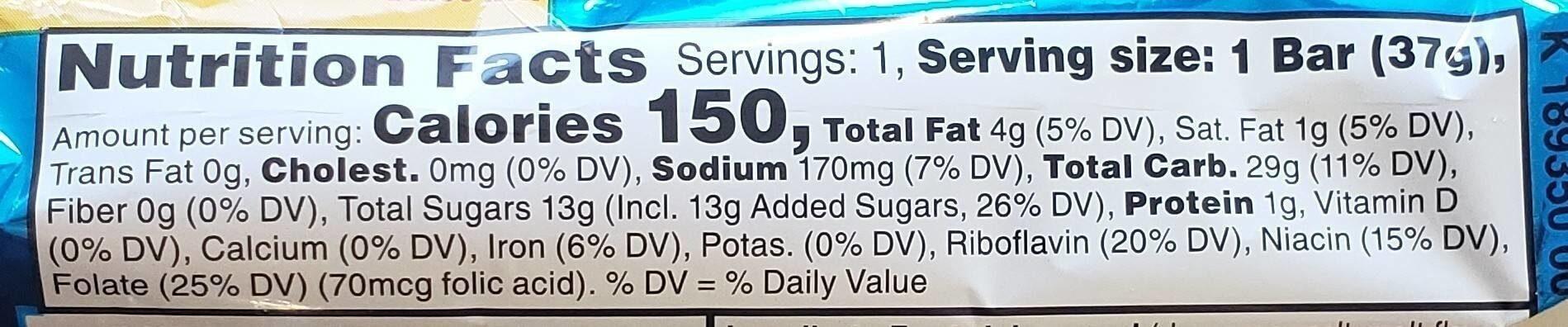 Kellogg'S Rice Krispies Treats Squares Original 1.3Oz - Nutrition facts - en