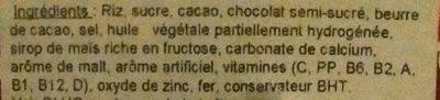 Rice cereal, chocolatey, sweetened - Ingredients - en