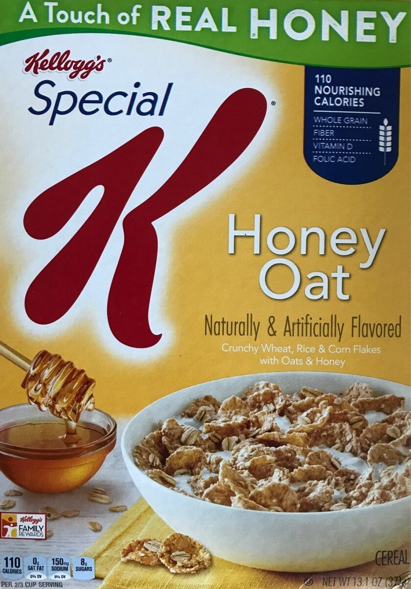 Honey oat crunchy wheat, rice & corn flakes with oats & honey cereal, honey oat - Product - en