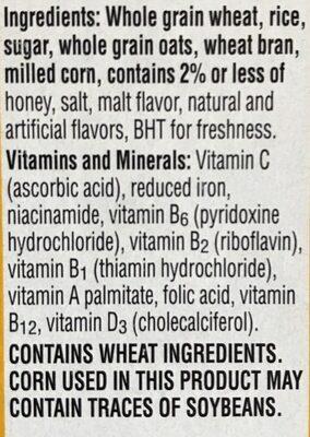Honey oat crunchy wheat, rice & corn flakes with oats & honey cereal, honey oat - Ingredients - en