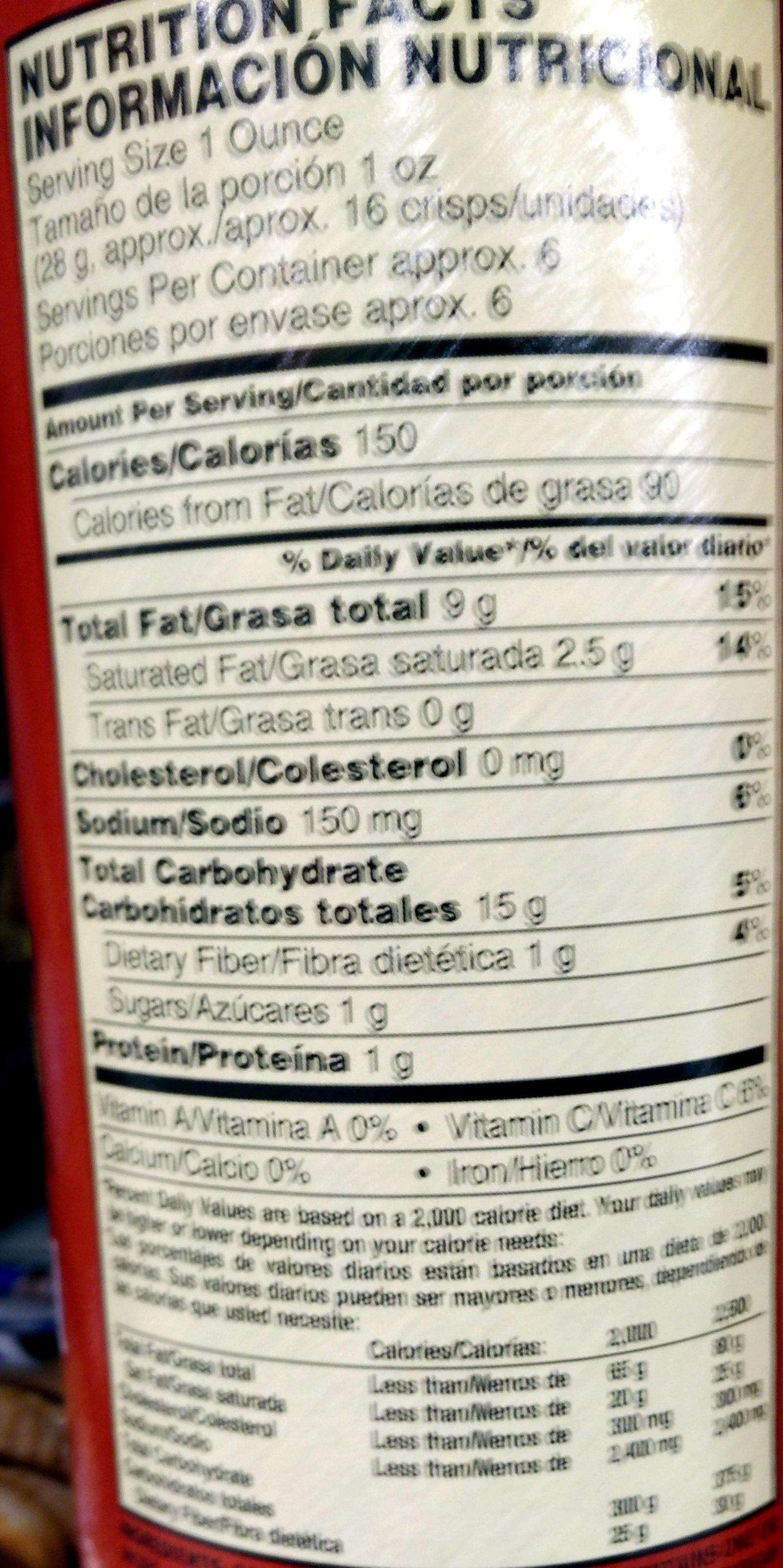 Pringles Original - Nutrition facts
