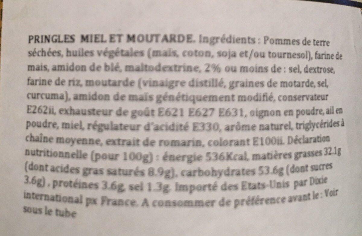 Pringles Honey Mustard - Ingredients - fr